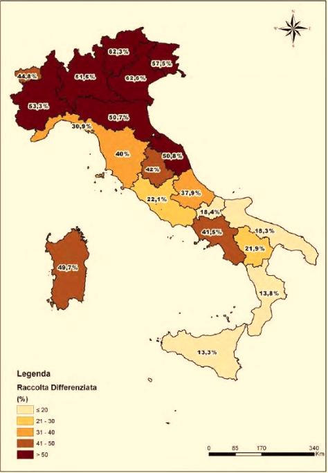 Mappa dell'Italia divisa in regione con la percentuale per ognuna di raccolta differenziata