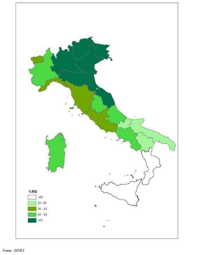 Cartina geografica dell'Italia divisa per regioni con percentuale della raccolta differenziata per ciascuna regione