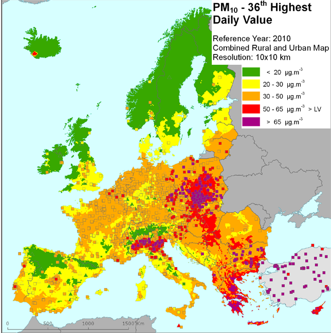 Cartina geografica con distribuzione pm10 in Europa