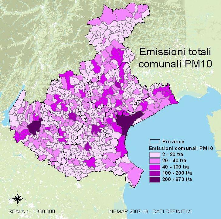 Cartina del Veneto con i livelli di pm10