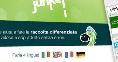 Junker app green con bandiere delle lingue in cui è tradotta l'app