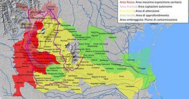 cartina con le aree interessate al pfas