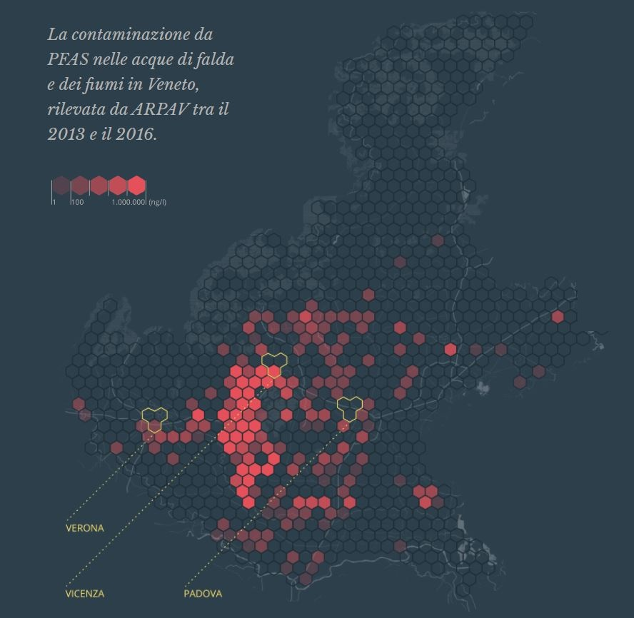 Cartina con le aree interessate dalla Pfas