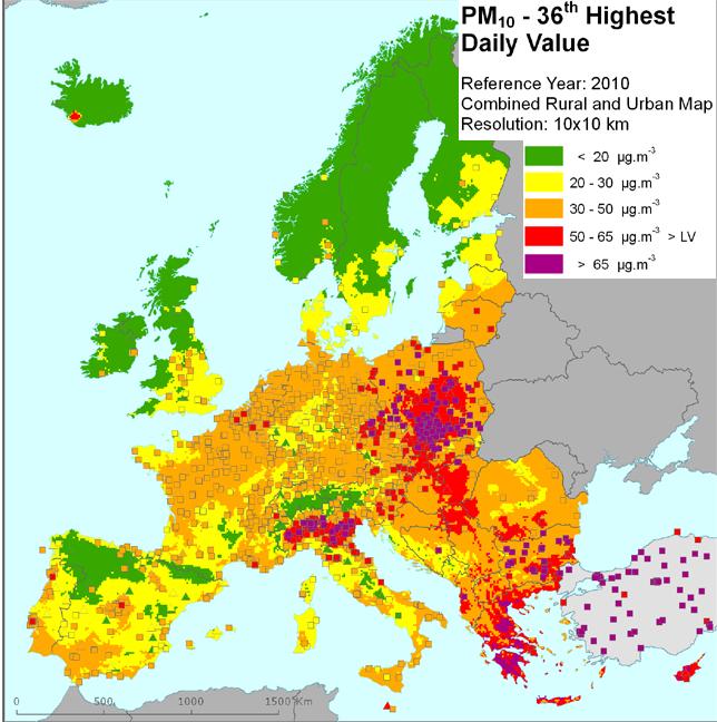 Cartina geografica con distribuzione pm10 in Europa