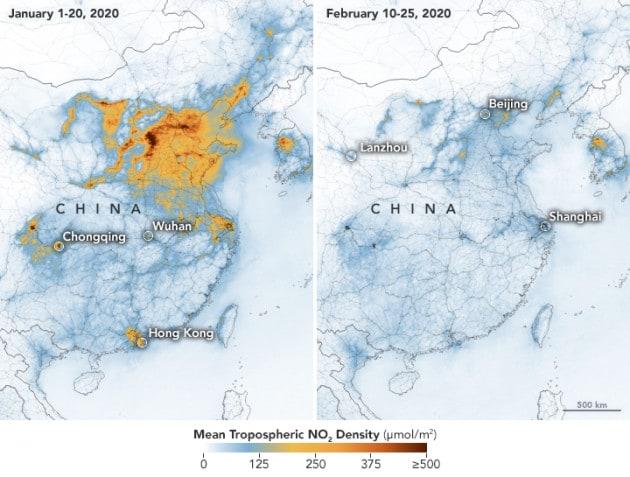 Riduzione dell'inquinamento atmosferico in Cina dovuto al corona virus