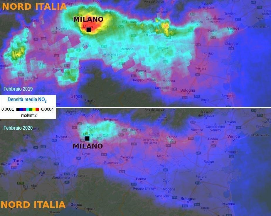 Riduzione dell'inquinamento in Lombardia dovuto al Coronavirus CODVID-19