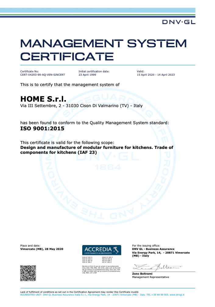 Certificazione ISO 9001 Home Cucine