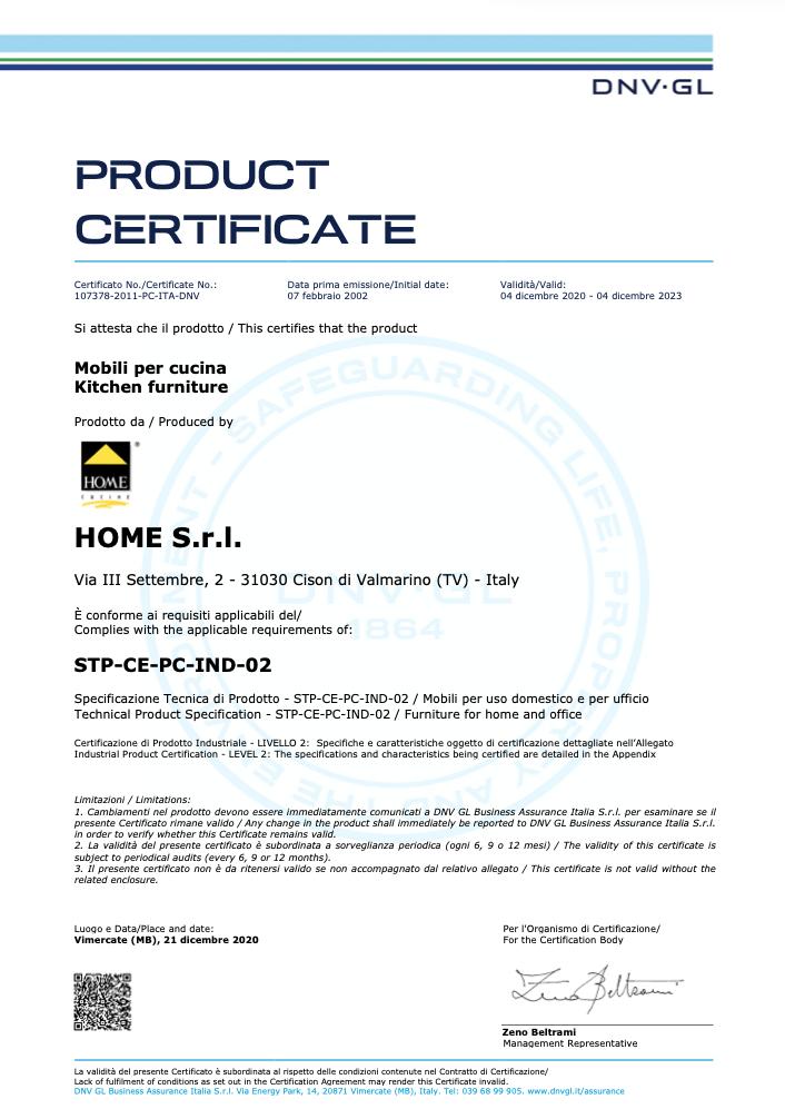 Certificazione di prodotto Home Cucine
